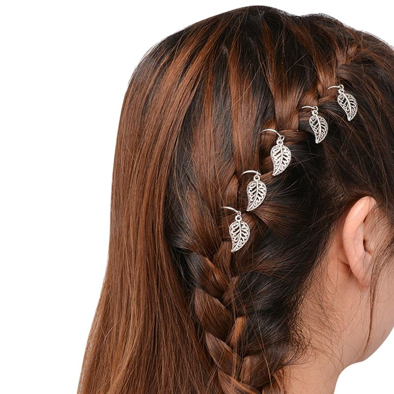 5pcs/Pack Women's Stylish Alloy Hairpins Gold and Silver Round Stars Shells Dreadlock Updo Hair Pins Cuff Hair Rings Accessories