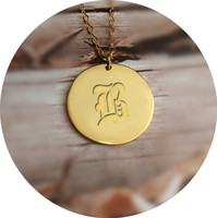 Wholesale Round Pendant Engraved B Letter Necklace Silver 1 Disc Necklace Personalized Solid Coin Letter Necklace