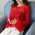 Size M-XXXL Women Fashion Plus Size Lace O-Neck Slim Full Flare Sleeve T Shirts Female Sexy Transparent Tops Tees And Camis Top
