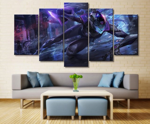 5 Panel LOL League of Legends Vayne Game Canvas Printed Painting For Living Room Wall Art Decor HD Picture Artworks Poster 1
