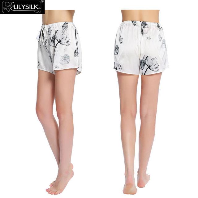 Lilysilk Sueño Cortos Pantalones de Pijama En Casa de Las Mujeres Patrón de Loto Hecho A Mano Suave de Lujo de Seda Ropa de Dormir Salón Bottoms Elástica Blanca