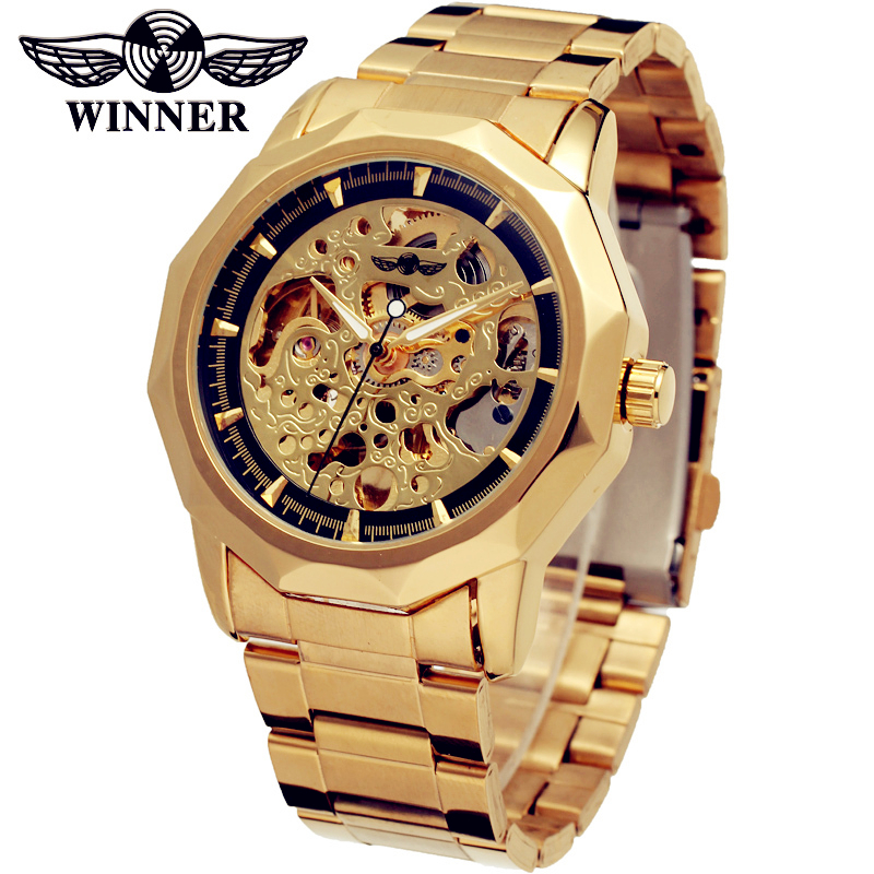 Fashion WINNER Men Luxury Brand Golden Business Stainless Steel Watch Automatic Mechanical Wristwatches Gift Box Relogio Releges fashion winner men luxury brand date leather band casual watch automatic mechanical wristwatches gift box relogio releges 2016