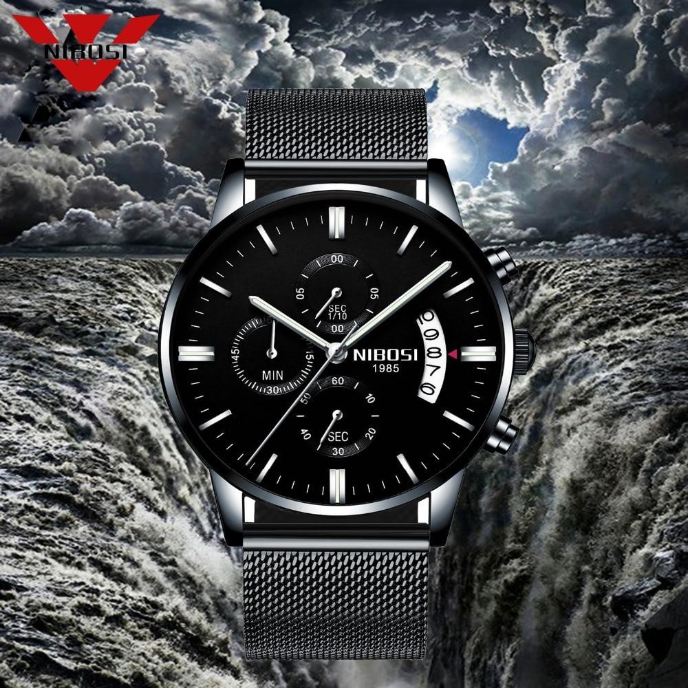 NIBOSI Luxury Mens Watches Quartz Ultra Thin Clock Male Waterproof Sporty Fashion Watch Men Casual Wristwatch Relogio Masculino