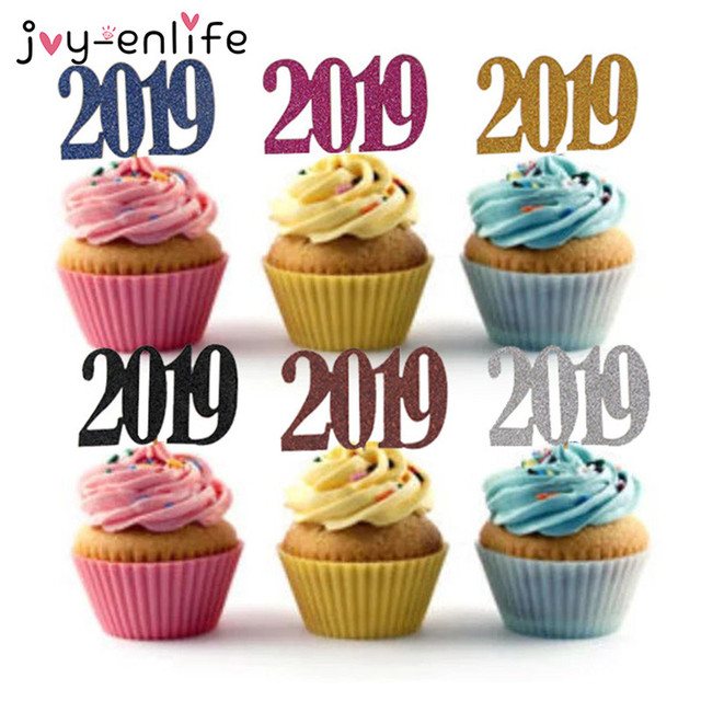9041ba57911fc JOY-ENLIFE 12pcs Glitter 2019 Cake Topper Cupcake Topper Flags Birthday  Party Happy New Year