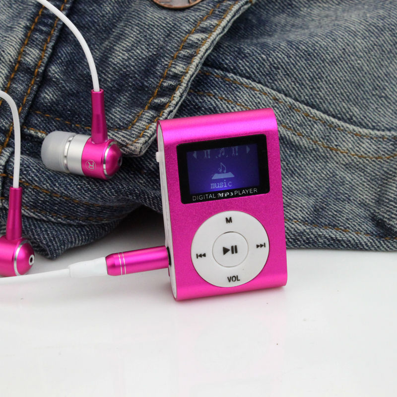 Portable MP3 LCD Screen Metal Mini Clip MP3 Player With Micro TF/SD Card Slot sport mp3 Music players walkman (Without Headset )