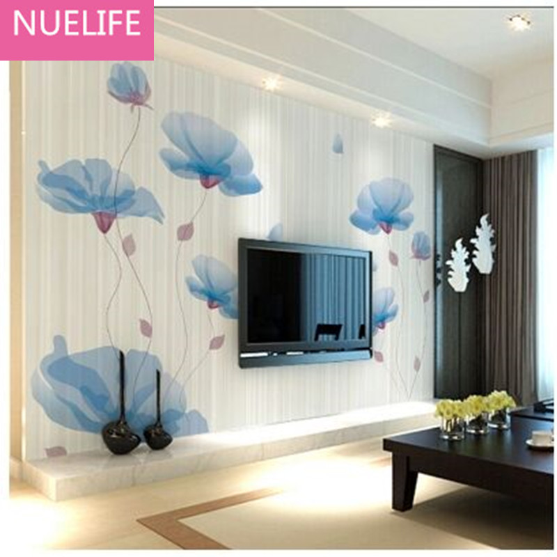0.53x10m 3D Pink Blue Flower Pattern Mural TV Background Wall Modern Simple Wedding Room Bedroom Living Room Sofa Wallpaper N4 book knowledge power channel creative 3d large mural wallpaper 3d bedroom living room tv backdrop painting wallpaper