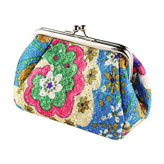 Women/girls Fashion Cute Embroidered Case Wallet Card Keys Pouch Coin Purse Vintage Flower Bags 13*9*9.5cm