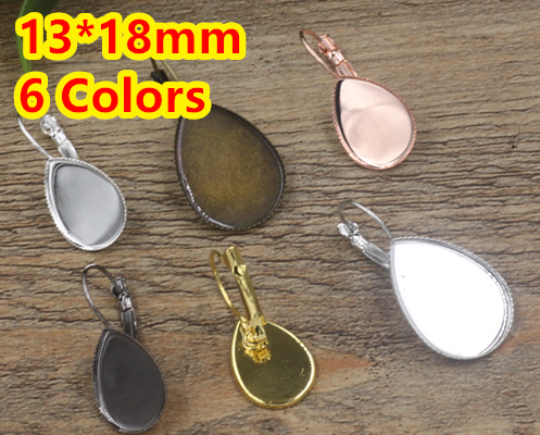 Cabochon 13*18mm 100pcs/Lot Antique Bronze/Gold/Silver/Black French Copper Earring Tear Drop studs cameo,earrings base stud
