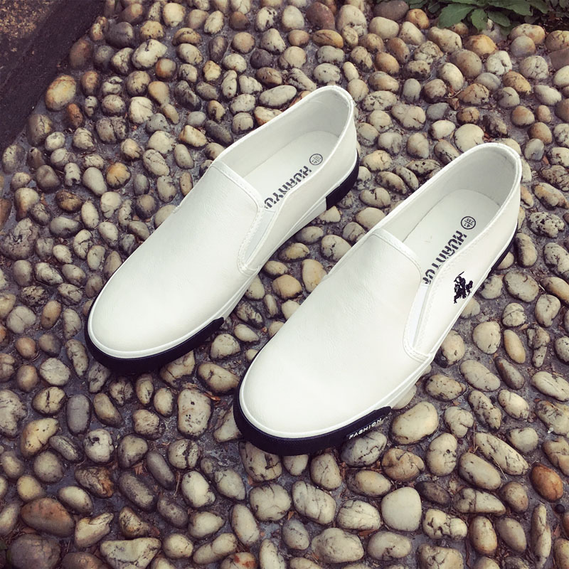Huanyue Nuevo 2017 Moda Negro Blanco Hombres Zapatos Causales Calidad PU Transpi