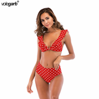 2018 Sexy High Waist Bikini Women Swimwear Push Up Swimsuit Ruffle Bathing Suit Polka Dot Biquinis