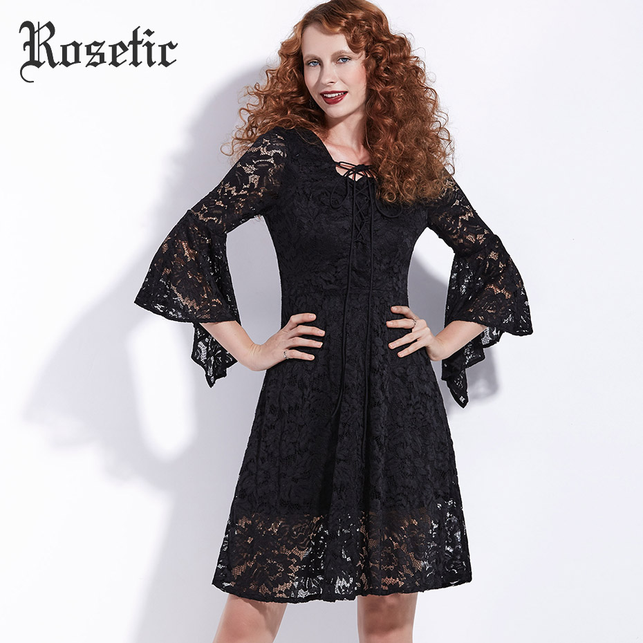 Rosetisch gothic zwarte jurk flare mouwen vrouwen herfst lace hollow lace-up jurk mode vintage gothics elegante a-lijn goth jurk