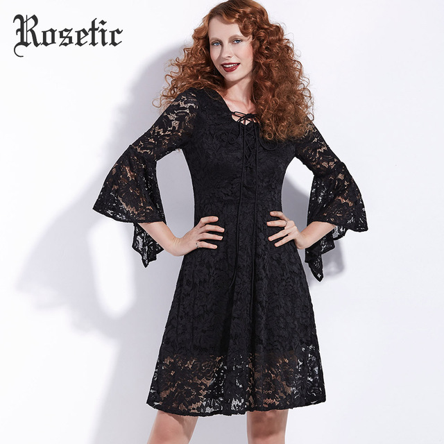 Rosetic Gothic Black Dress Flare Sleeve Women Autumn Lace Hollow Lace-Up Dress Fashion Vintage Gothics Elegant A-Line Goth Dress