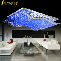 Luxury 4 Color Smooth Sailing Led Lamp K9 Crystal Modern Square Led Ceiling Lights Remote Control
