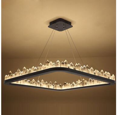 Post-modern rectangular bar dining hall light luxury crystal droplight LED living room chandelier study bedroom lamps