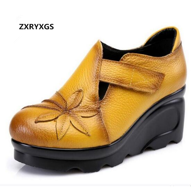 цена ZXRYXGS brand genuine leather shoes women shoes high heels 2018 spring fashion casual shoes wedges women pumps Wedding shoes