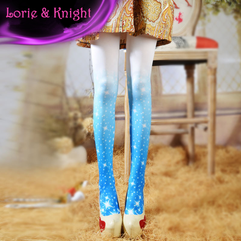 Japanese Sweet Lolita Style Sky Printed Colored Tights Girls Fashion Pantyhose Tights