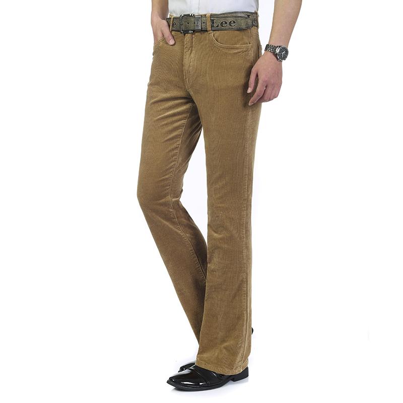 Free Shipping High Quality 2019 New Men's Spring Corduroy Flares Pants Mid Waist Smart Casual Bootcut Trousers Plus Size 27-38 113