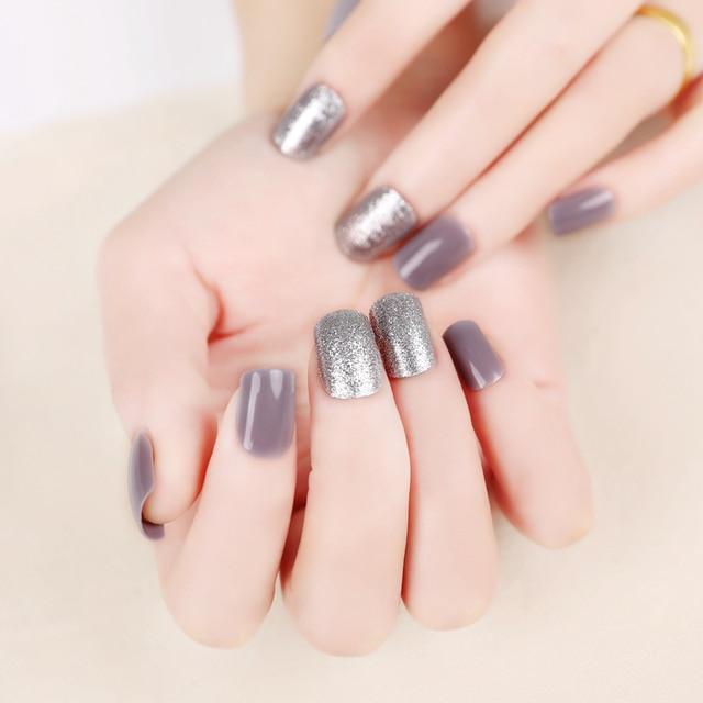 New Fashion 24 Pcs Milk Gray Short False Nails Acrylic Nail Art Tips Glitter Smooth Style