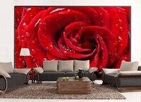 סיטונאי רומנטי אדום רוז טיפות מים 3d קיר קיר תמונה ציורי קיר טפט רקע טלוויזיה קיר 3d חדר חתונה פרסקו