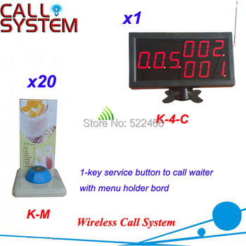 Wireless Call Button System in 433.92MHz with 20 table buttons and 1 number display, DHL shipping free