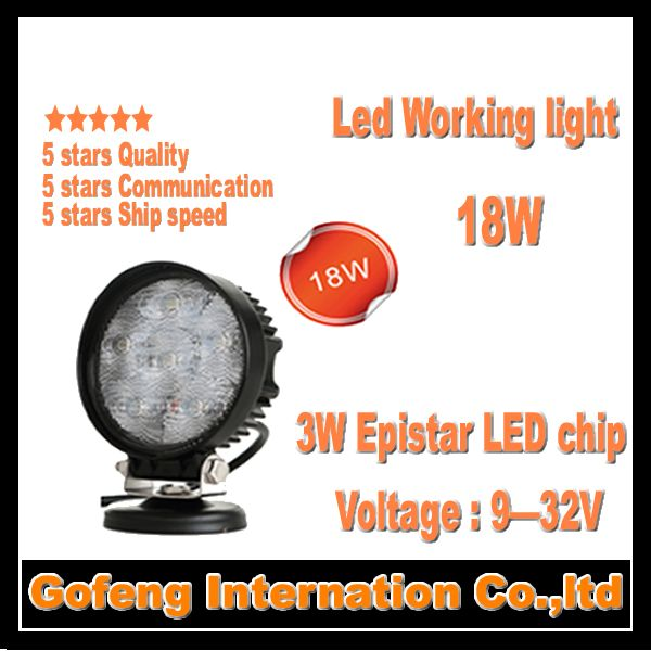 1PCS/LOT 2014 new products DC10-30V IP67 car led 18w work light spot Beam working Offroad Truck epistar chip lamp free shipping