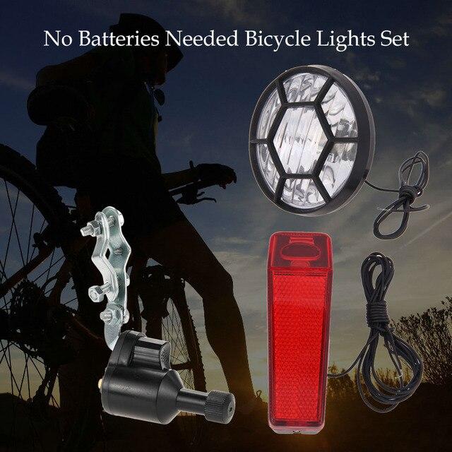 led fietsverlichting set kit bike veiligheid koplamp achterlicht achterlicht 6 w dynamo geen batterijen nodig