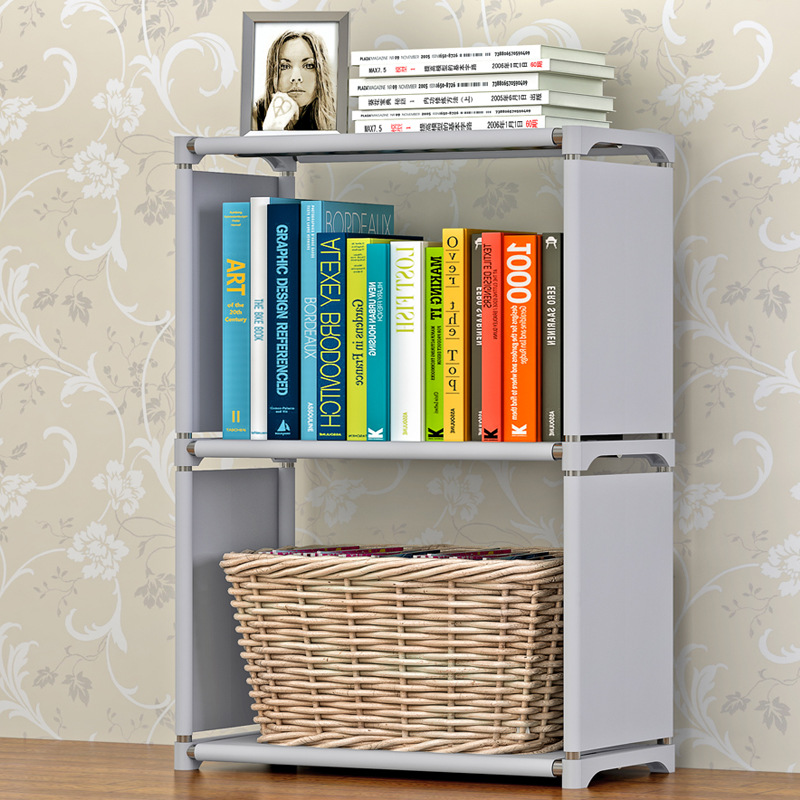 Simple 3-Story Bookcase Stainless Steel Non-Woven Multi-Purpose Bookshelf Moveable Bedroom Furniture Dust Storage Rack 4 layers of simple dust proof moisture proof shoe rack thick non woven stainless steel shoe free assembly of home furniture