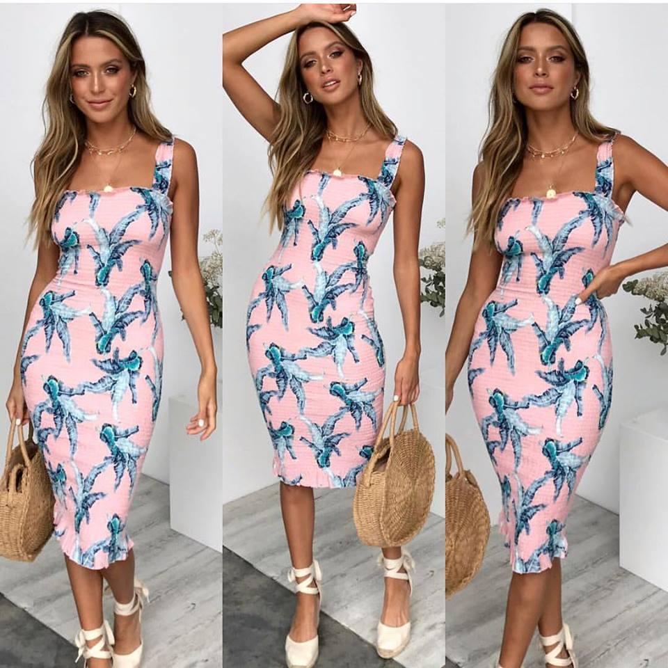 2019 Spring Summer Women Floral Sleeveless Dress Sexy Bohemian Backless Beach Sun Long Womens