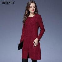 MUSENDA Plus Size Women Elegant Burgundy Brief Short Dress 2017 Autumn Winter Female Office Lady Dresses