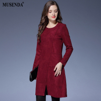 MUSENDA Plus Size Women Elegant Burgundy Brief Short Dress 2017 Autumn Winter Female Office Lady Dresses