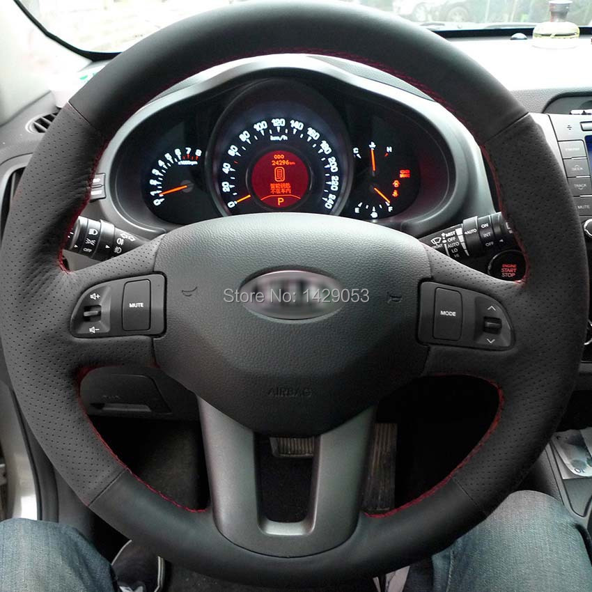 Case KIA Sportage R Steering wheel covers DIY genuine leather sewing car steering styling Anti-slip - Auto Accessories Store store