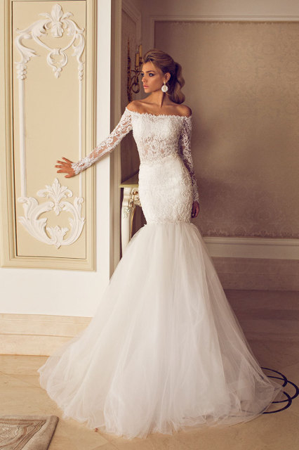 Elegant Boat Neck Lace&Tulle Mermaid Wedding Dresses with Long ...