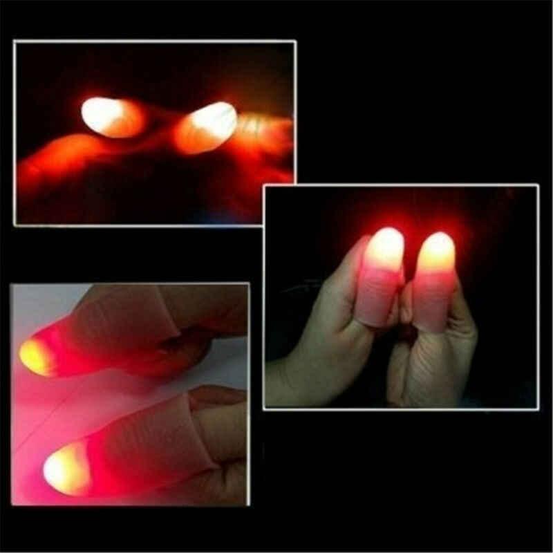 1 Pair Magia Creativa Produttori di Luce Rossa del Pollice Punte Con LED Rosso Magia Thumb Tip Luce Illusion Soft di Serie formato 2 Pcs Puntelli
