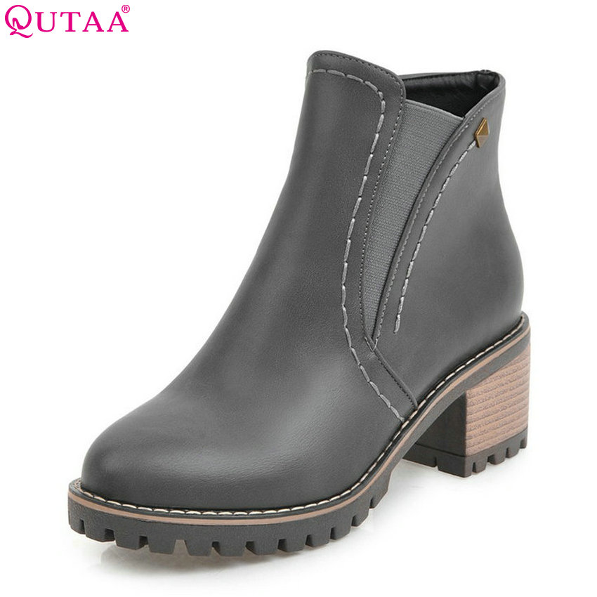 QUTAA 2018 Women Ankle Boots Fashion Zipper Pu Leather Square high Heel All Match Spring and Autumn Ladies Boots Size 33-43 qutaa 2018 high quality pu leather women ankle boots fashion square high heel zipper round toe all match women boots size 34 43