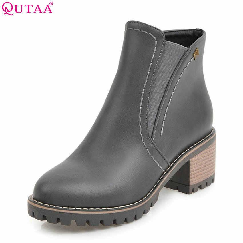 QUTAA 2020 Kadın yarım çizmeler Moda Fermuar Pu Deri Kare yüksek Topuk Tüm Maç Bahar ve Sonbahar Bayanlar Çizmeler Boyutu 33 -43