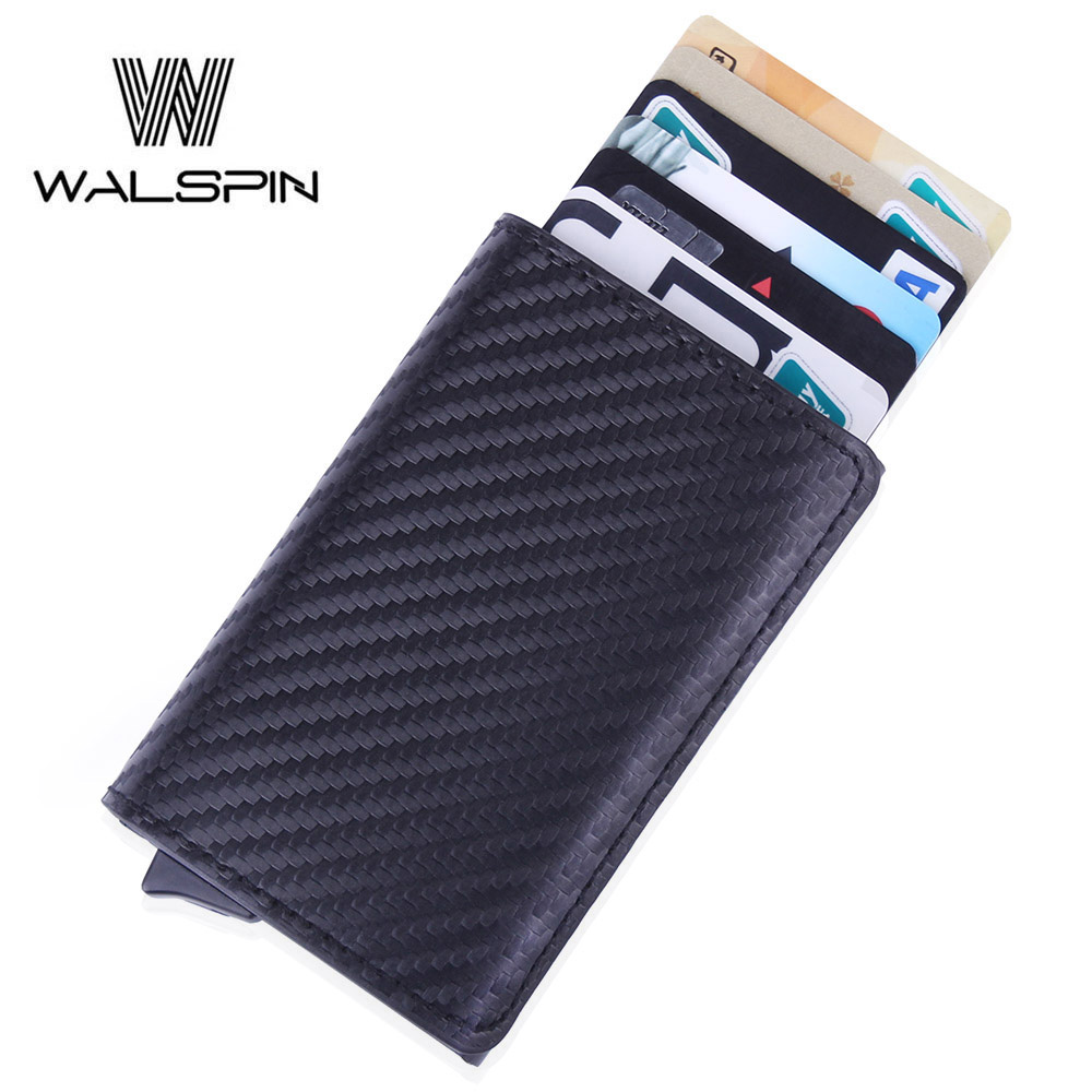 RFID Aluminum Slim Wallet Leather Mini Men & Women Wallets Business Automatic Pop Up ID Credit Card Holder 2019