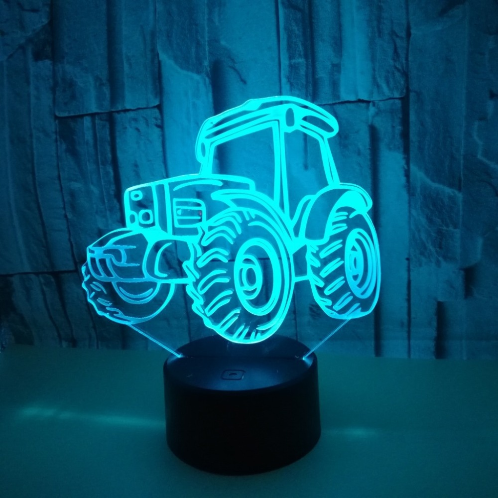 New Creative Tractor Colorful 3D Vision Night Light Touch Remote Control Novelty LED Light Small Table Lamp Home Decor Kid Gift