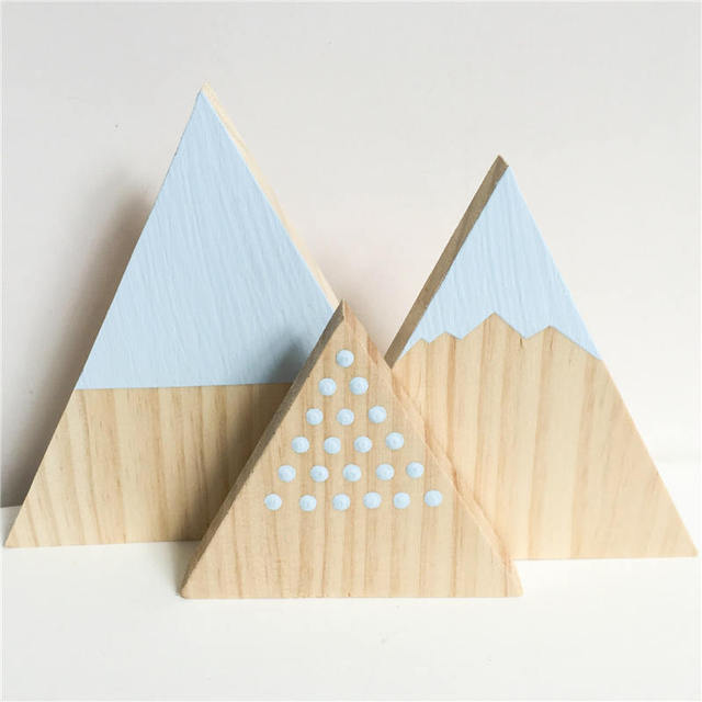 Wooden Tree Three-Piece Building Block Photography Props Kids Room Decor B