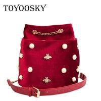 TOYOOSKY Luxury Brand Women Bucket Bag 2018 New Velvet Chain Shoulder Bag Designer Pearl Bee Decoration Ladies Shoulder Bags