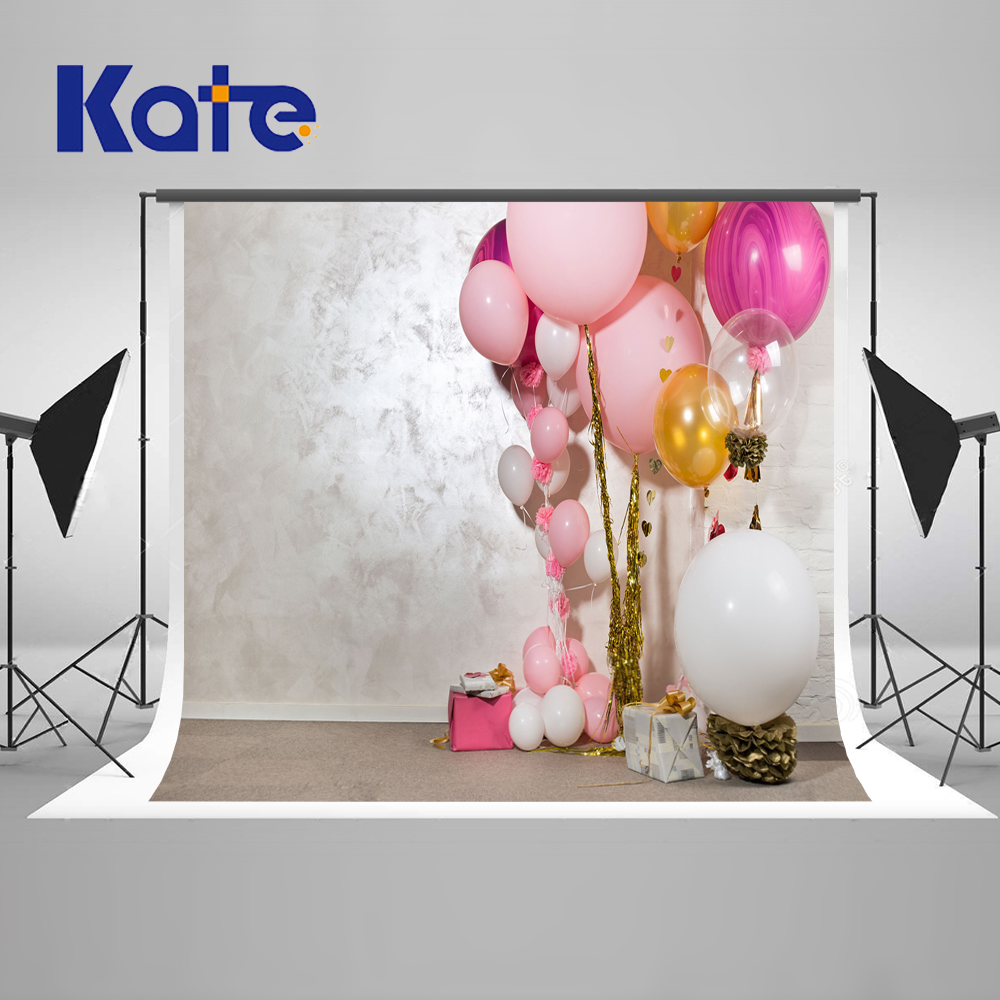 KATE Newborn Birthday Background White Pure Color Brick Wall Backdrops Pink Ballon Background for Photo Studio kate photo background scenery