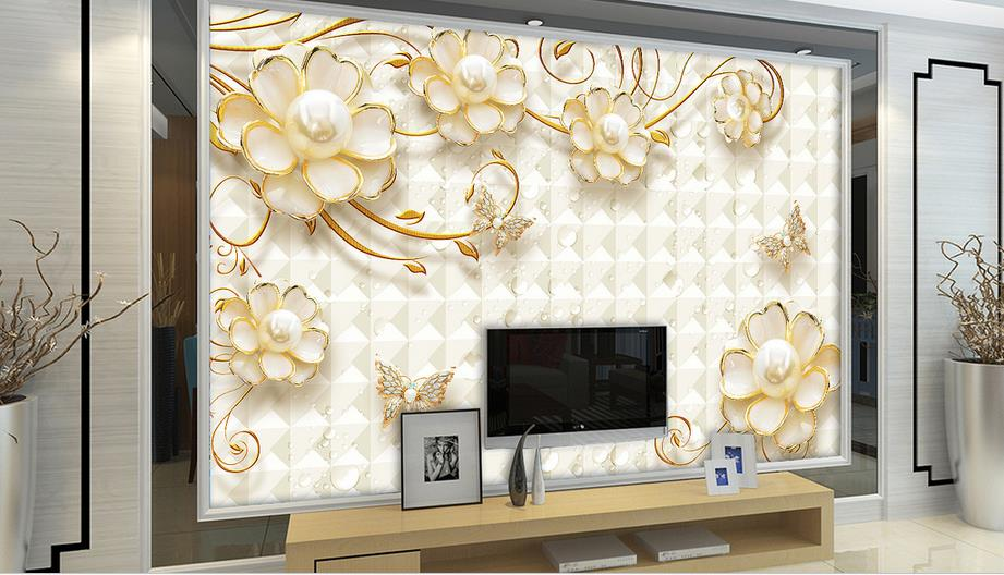 Luxury gold 3d photo design wallpaper roll Flower jewelry 3d wall murals wallpapers for living room high wallpaper hotel room shinehome lovely lily blossom flower wallpaper for bedroom murals roll for 3d walls wallpapers for 3 d living room wall paper