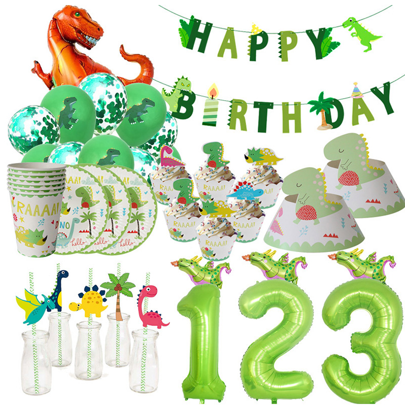 WEIGAO Dinosaur Party Decor Kids Dino Birthday Party Decor Disposable Paper Drinking Straws Kids Birthday Party Foil Balloons-in Disposable Party Tableware from Home & Garden