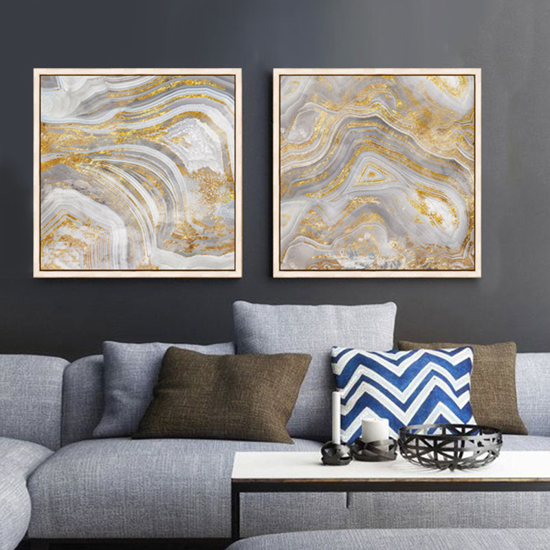 Gold Abstract Modernos Canvas Pictures For Living Room