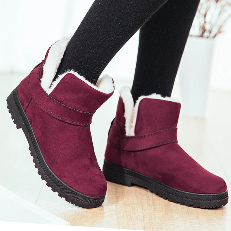Women boots plush warm winter shoes round toe slip-on ankle strap snow boots cow suede plus size 35-44 solid female boots 2017 cow suede genuine leather female boots all season winter short plush to keep warm ankle boot solid snow boot bota feminina