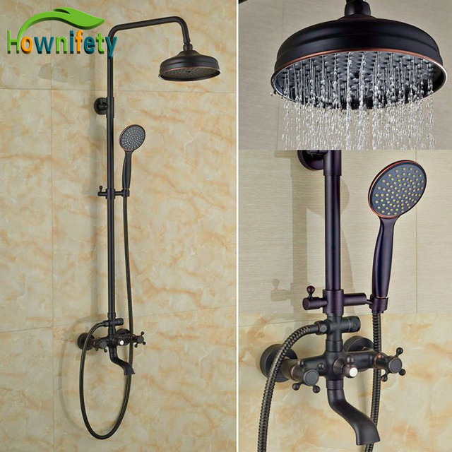 Rainfall Shower Head With Handheld Oil Rubbed Bronze Faucet Bath Set Exposed