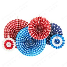 6pcs/set Red Blue Printed Paper Fan Decoration Set (Polka Dots Stripes Zigzag Print) Trend Party for Wedding  Anniversary