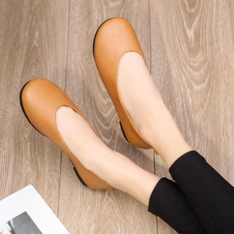 2019 yeni varış ayakkabı kadın hakiki deri kadın Flats üzerinde kayma kadın loafer'lar kadın mokasen ayakkabı zapatos mujer c686