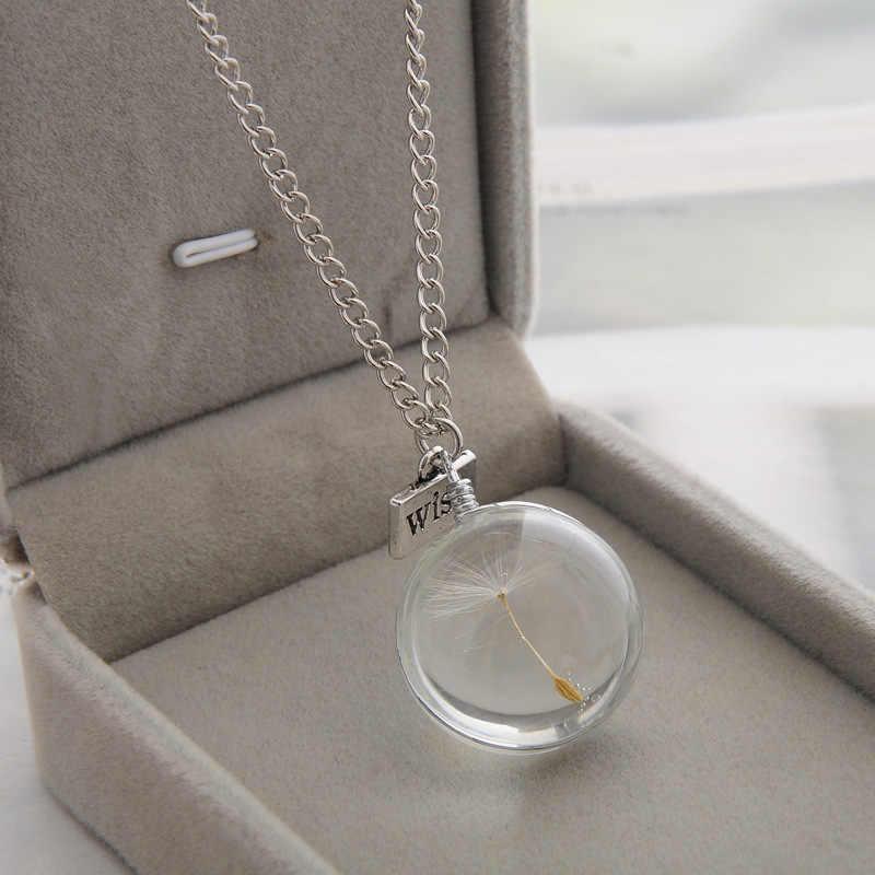 2019 Fashion Kettingen Wens Echte Paardebloem Crystal Ketting Glas Ronde Hangers Ketting Zilveren Ketting Choker Ketting Voor Vrouwen