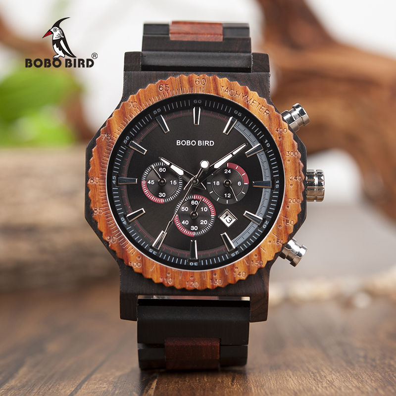 BOBO BIRD Men Watch Dial in Quartz Wooden Wood Wristwatches Male Quartz relogio masculino in Gift Box Timepieces Stopwatch bobo bird watch men wooden metal quartz watches special design men s wristwatches in wooden box timepieces relogio masculino