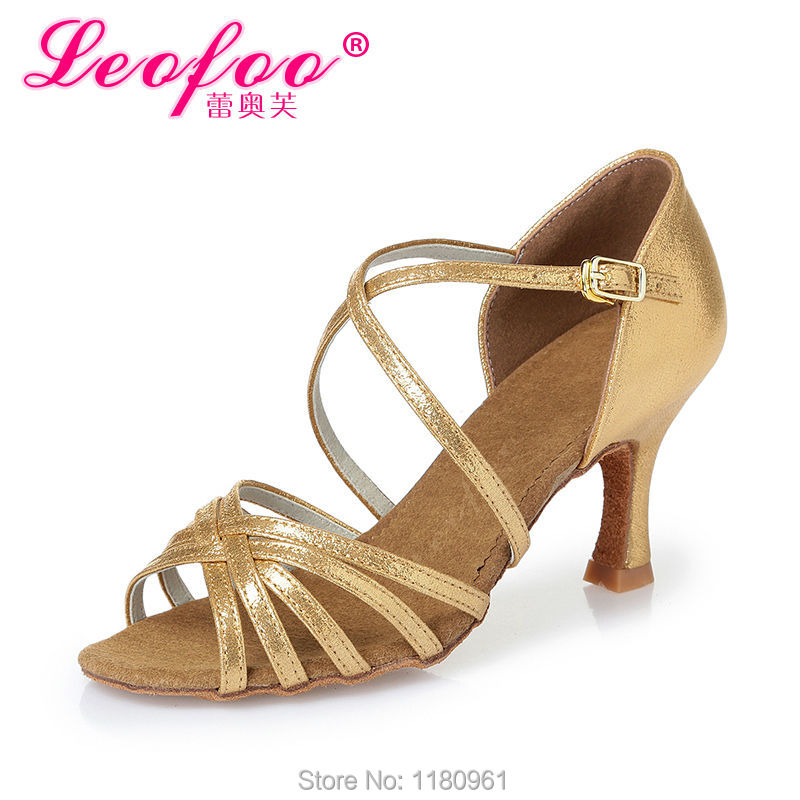 Women's Dance Shoes Ballroom/Latin Shoes Heels Chunky Heel 7.5cm gold PU gold film leat satin Factory direct sale CL29